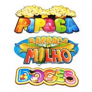 """KIT PLACAS """"DOCES"""", """"PIPOCA"""" E """"BARRACA DO MILHO"""""""
