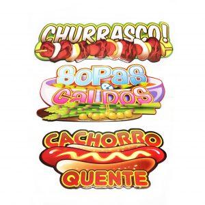 """KIT PLACAS """"CHURRASCO"""", """"CACHORRO QUENTE"""" E """"SOPAS E CALDOS"""""""
