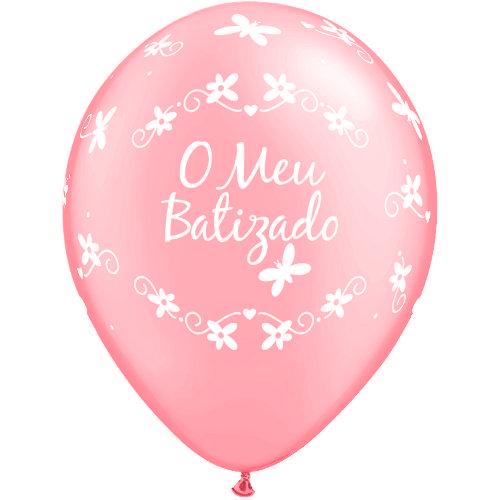 """BALÃO ROSA """"MEU BATIZADO"""" 11"""" 6x"""