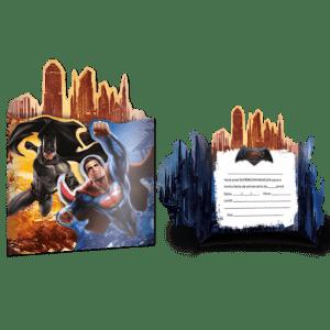 """CONVITE DE ANIVERSÁRIO """"BATMAN VS SUPERMAN"""" 8x"""