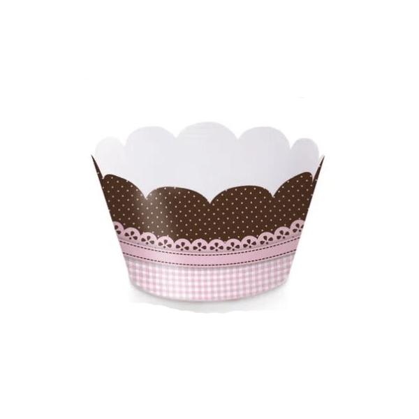 WRAP PARA CUP CAKE RENDADO ROSA 12X