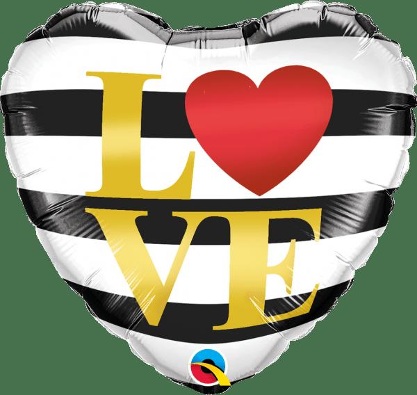 """BALÃO CORAÇÃO METALIZADO """"LOVE"""" COM LISTRAS HORIZONTAIS 18"""""""