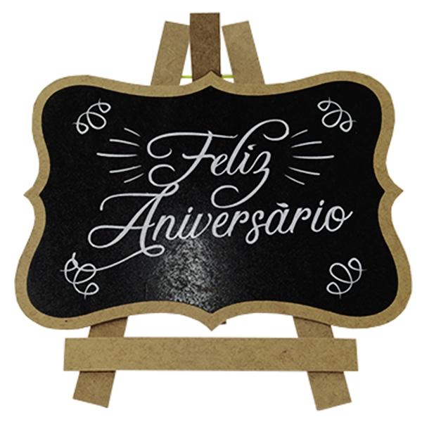 "PLACA CAVALETE ""FELIZ ANIVERSÁRIO"""