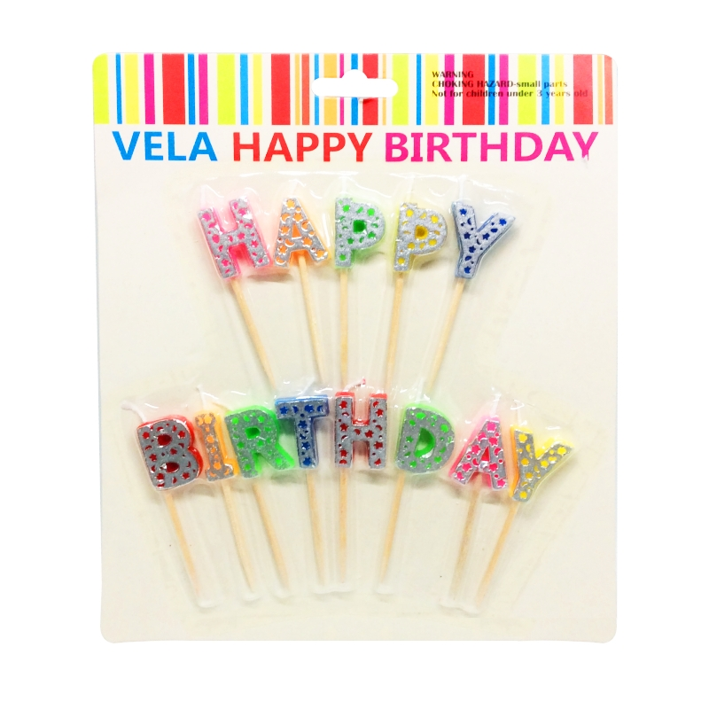 "VELA ""HAPPY BIRTHDAY"" COLORIDA FRENTE PRATA"