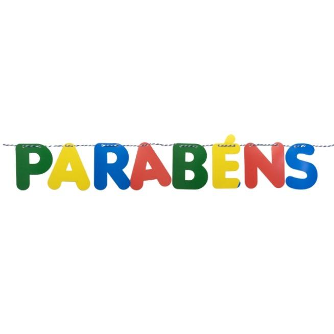"""FAIXA """"PARABÉNS"""" LETRAS COLORIDAS 1,20m"""